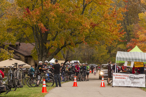 Riders await their turn at the start of the Brown County Breakdown.