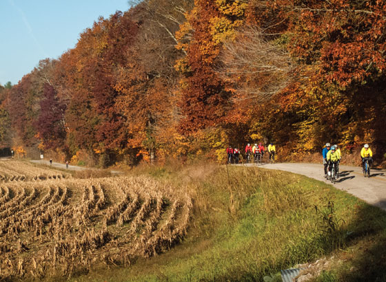 Riders often form up in groups on the Hilly Hundred.