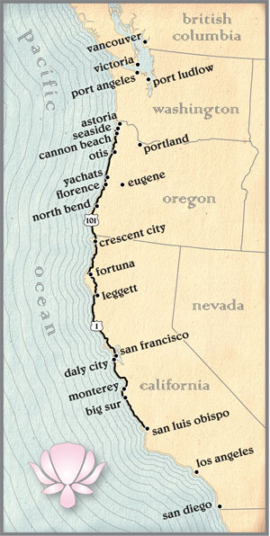 Map of the Pacific Coast Route