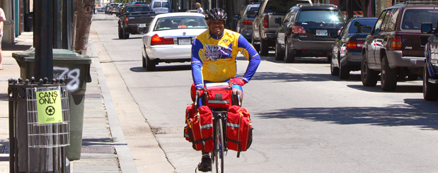 Cyclist in Mobile, Alabama