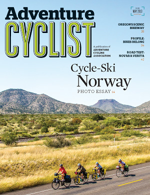 "Image: Cover of redesigned ""Adventure Cyclist"" magazine"