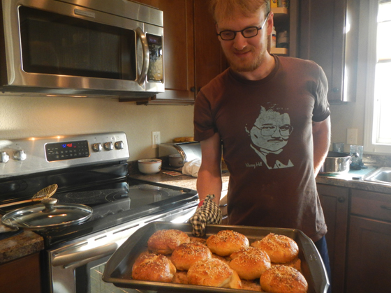 Photo of Adam baking bagels
