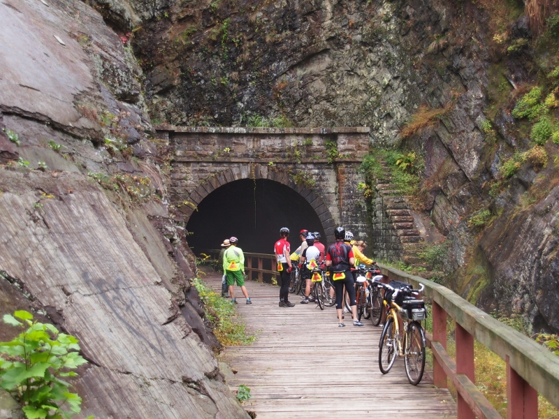 Riders at the 3,118-foot-long Paw Paw tunnel