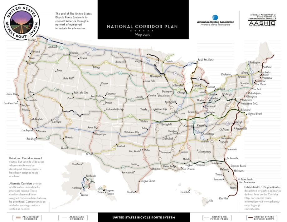 Official National Bicycle Network Expands To 8 992 Miles With Addition Of Three New Routes In Idaho And Utah Eighteen States Now Have U S Bicycle Routes
