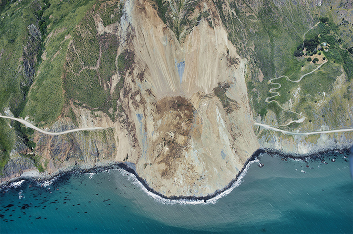 Road closure: Mud Creek slide on California's State Route 1.