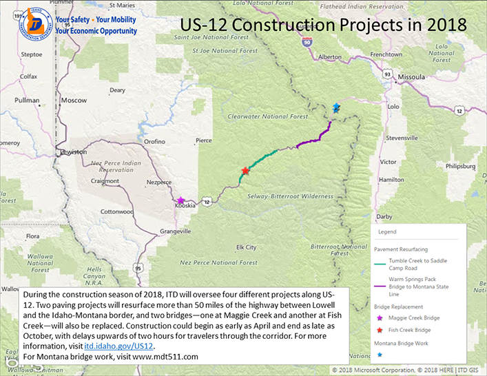 Highway construction status on U.S. Highway 12 and Adventure Cycling's Transamerica Trail in Idaho.
