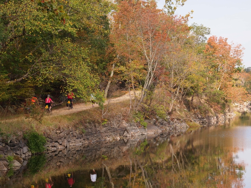 Riders find their own pace along the Canal Towpath.