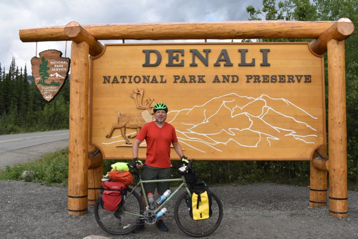 Bicycles in front of Denali sign