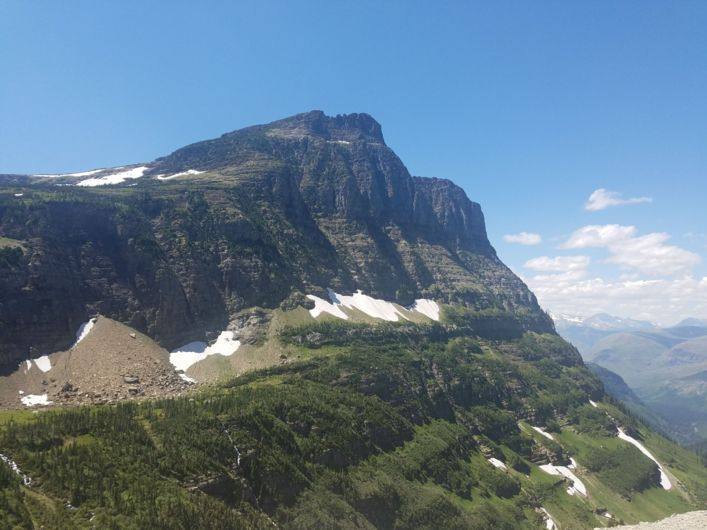 a scene from Logan Pass in Glacier National Park