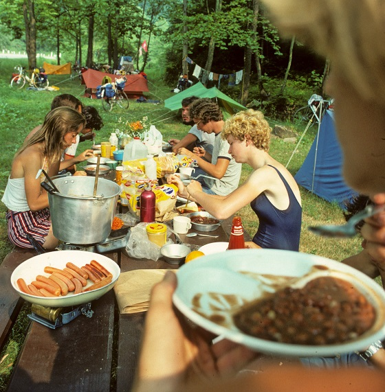 Bikecentennial '76 riders enjoy a picnic after a day of riding. Photo by William Weir.