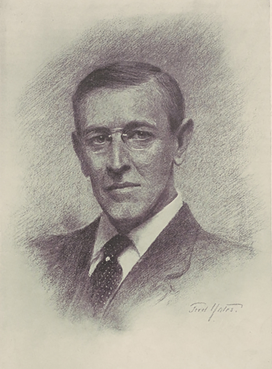 Chalk portrait of President Wilson by Fred Yates, whom the president met during a bicycle tour in England
