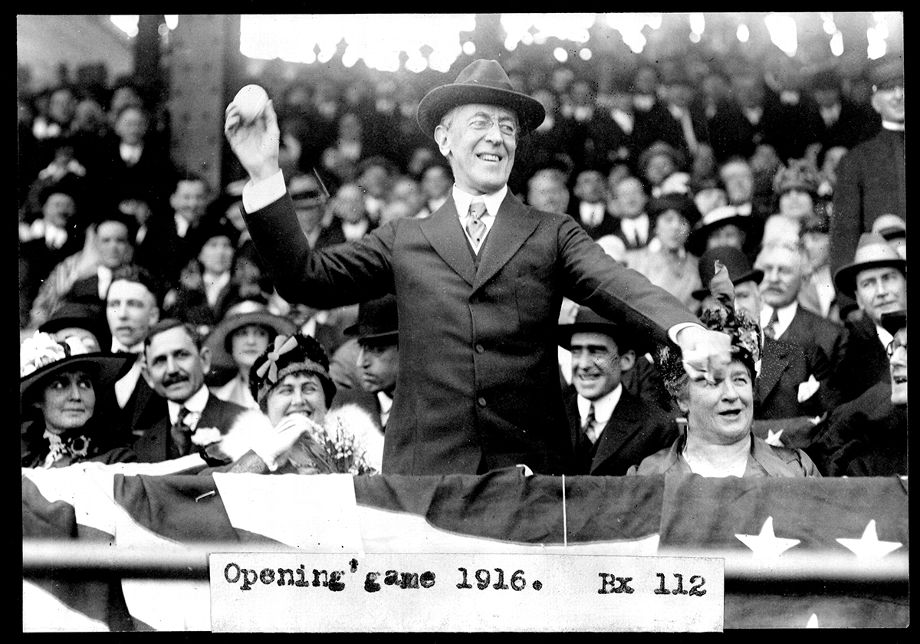 President Wilson throwing out a first pitch in 1916