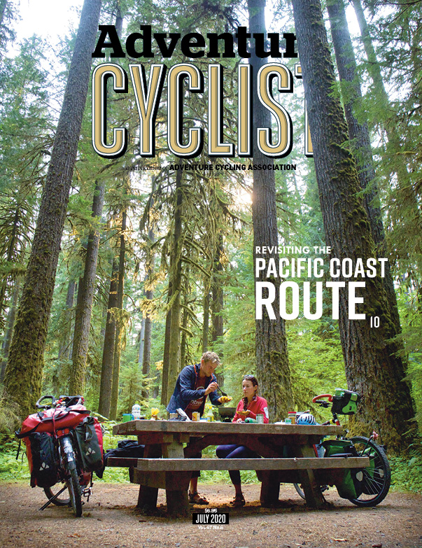The cover story of the July 2020 issue of Adventure Cyclist.