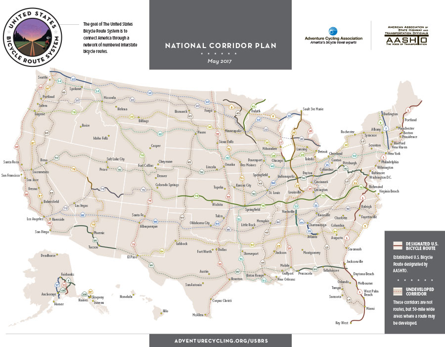 Pennsylvania Becomes 25th State To Join The Us Bicycle Route - Us-bicycle-route-50-map