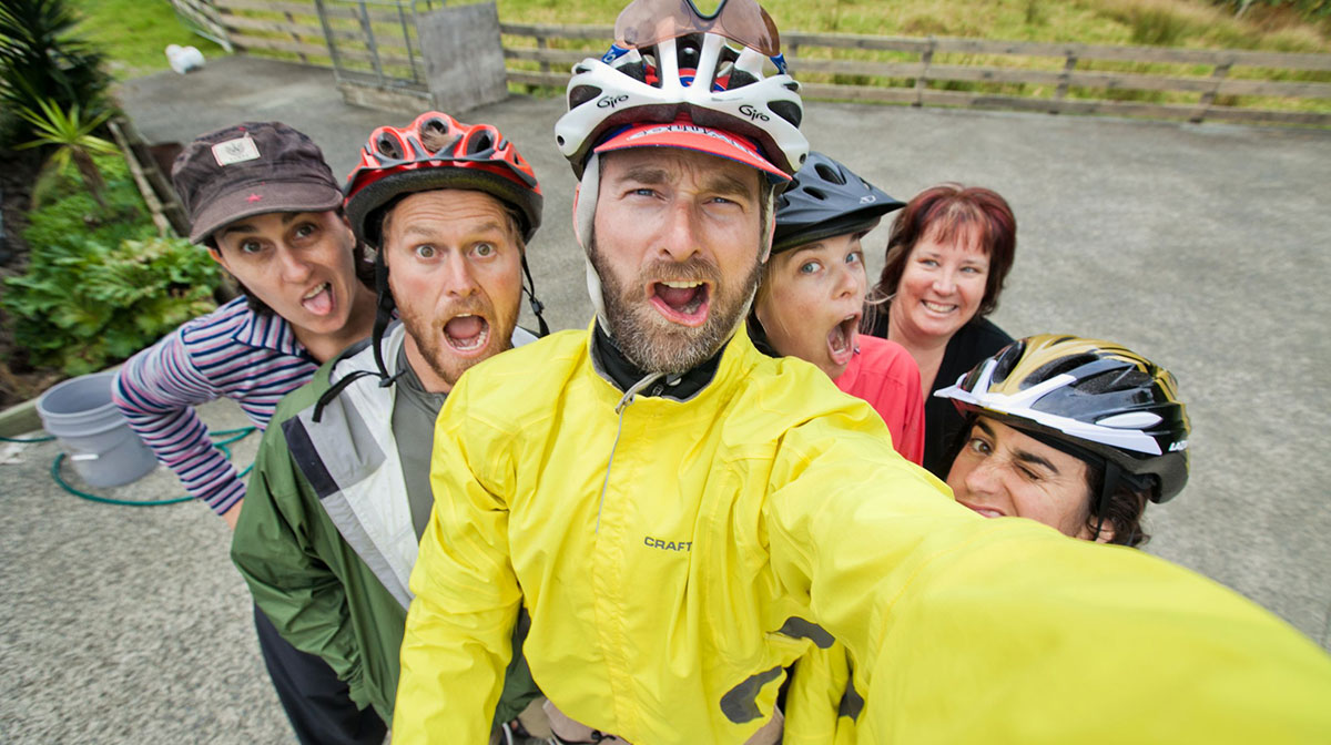 Cyclists giving their best selfies