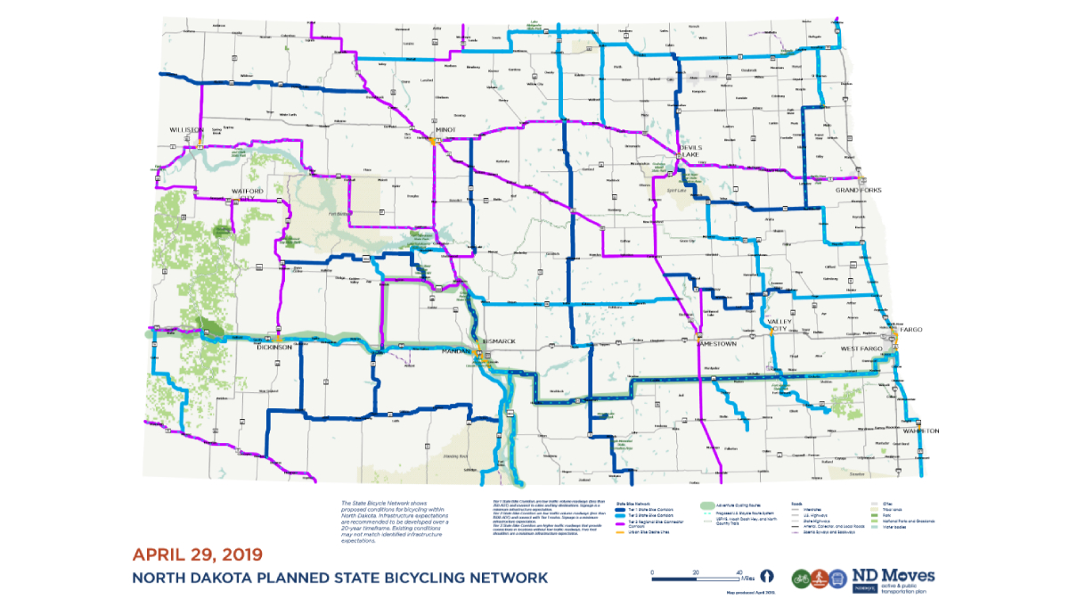 North Dakota Planned State Bicycling Network map