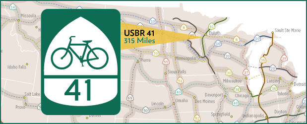 New Us Bicycle Route 41 In Minnesota Adds 315 Miles Midwest - Us-bicycle-route-system-map