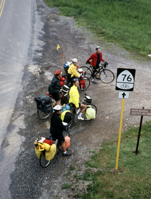 TransAm group on U.S. Bike Route 76, also know as the TransAmerica Trail