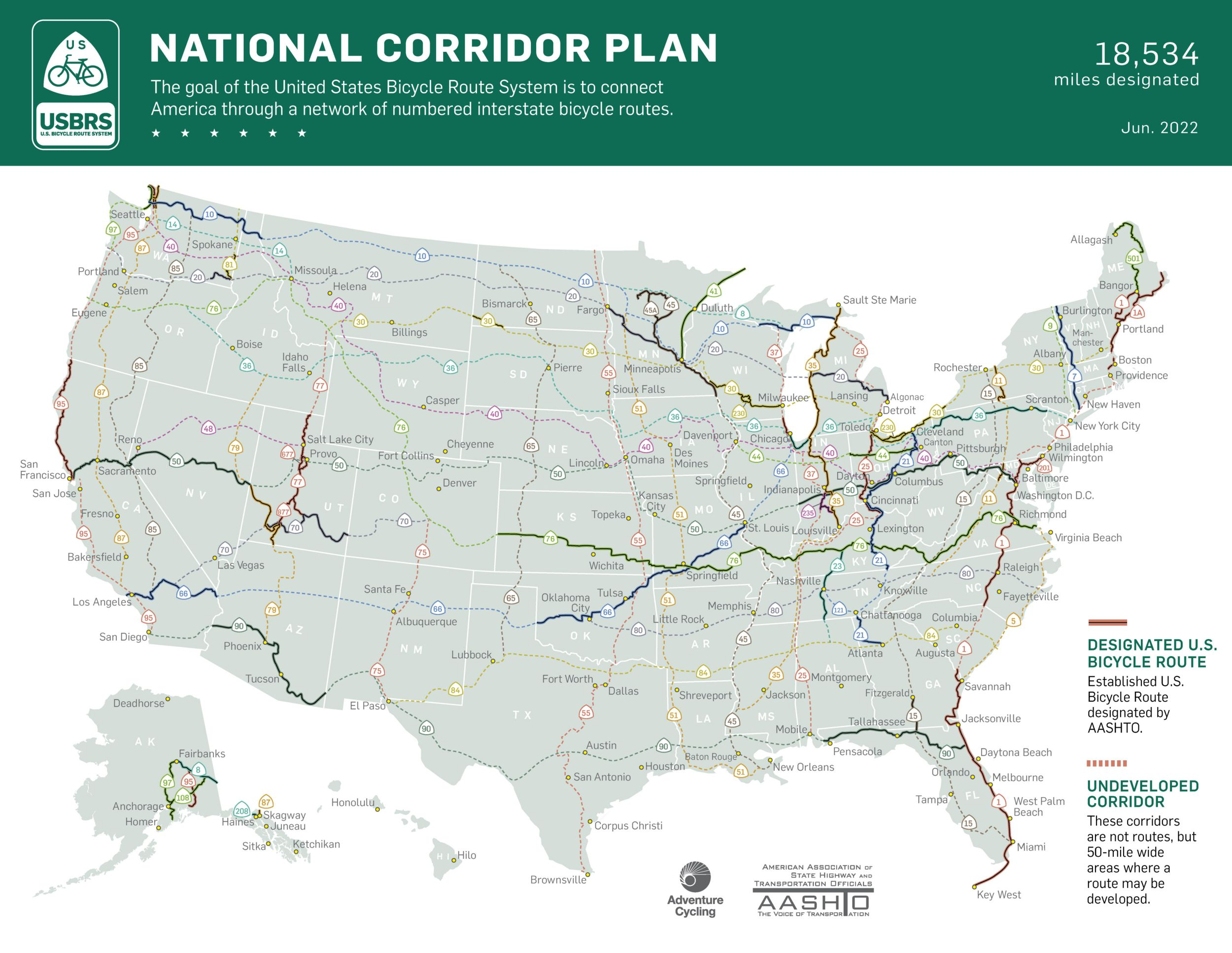 National Corridor Plan Us Bicycle Route System Adventure - Map-of-us-route-1