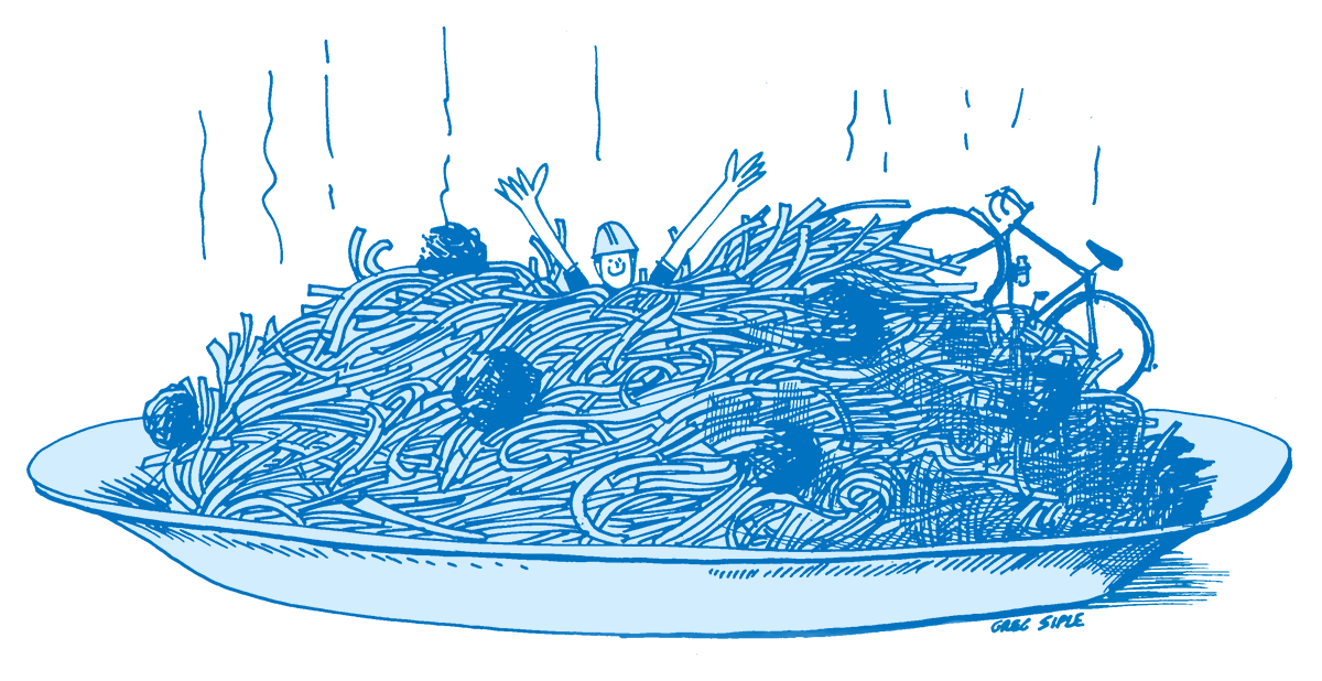 Illustration of a cyclist in a giant plate of spaghetti.