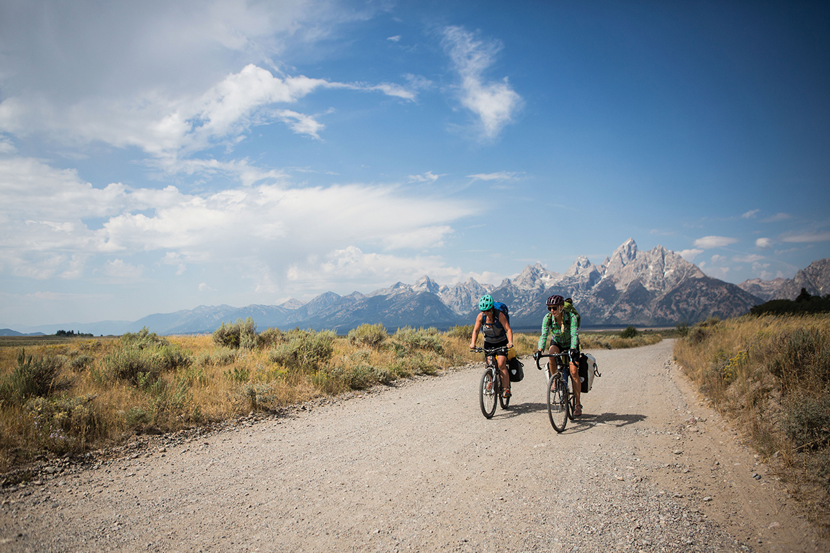Opting to ride unpaved backroads north of Moose, Wyoming, made for slower going - the better to watch the Tetons go by