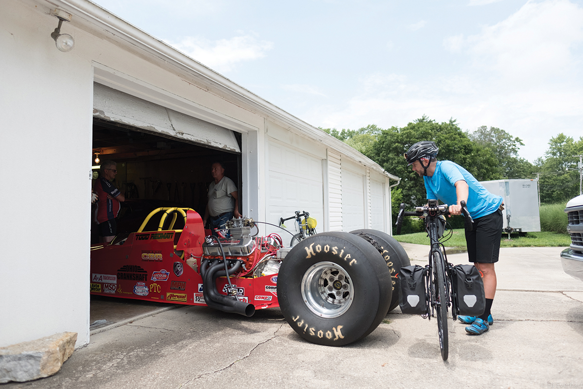 Nick Legan checks out a drag racing car in Centerville.