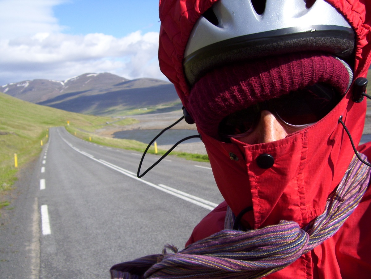 Laura Killingbeck wears lots of clothes while adventure cycling in Iceland.