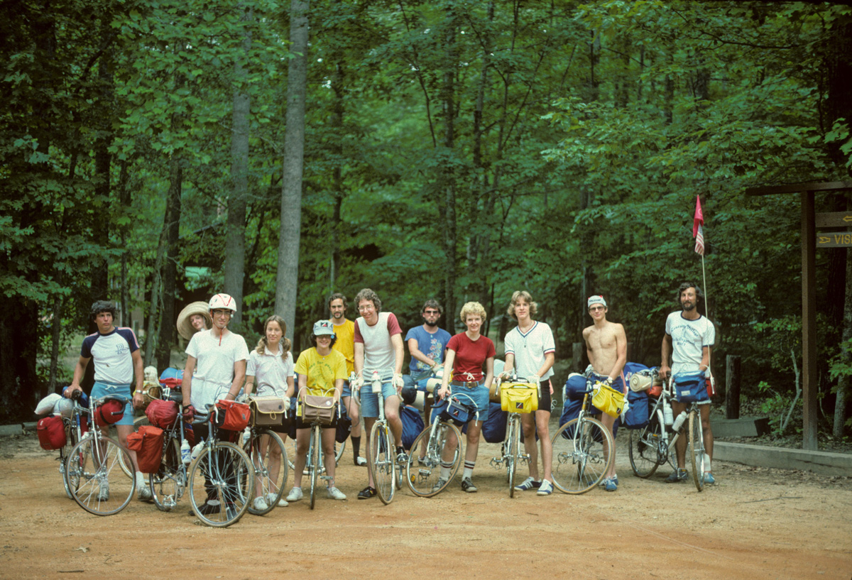 Bikecentennial 1976 Trans Am group photo by Bill Weir