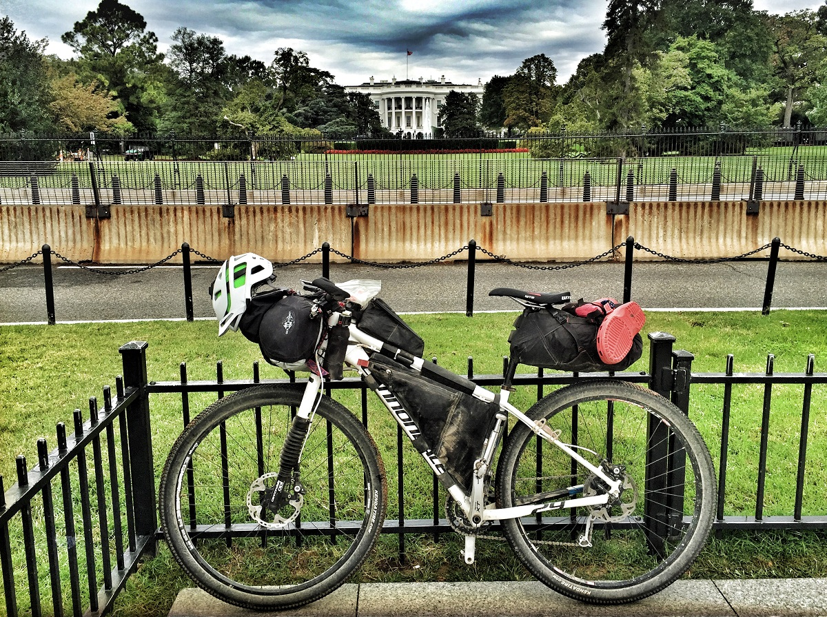Mountain bike touring often uses bikepacking bags like these.