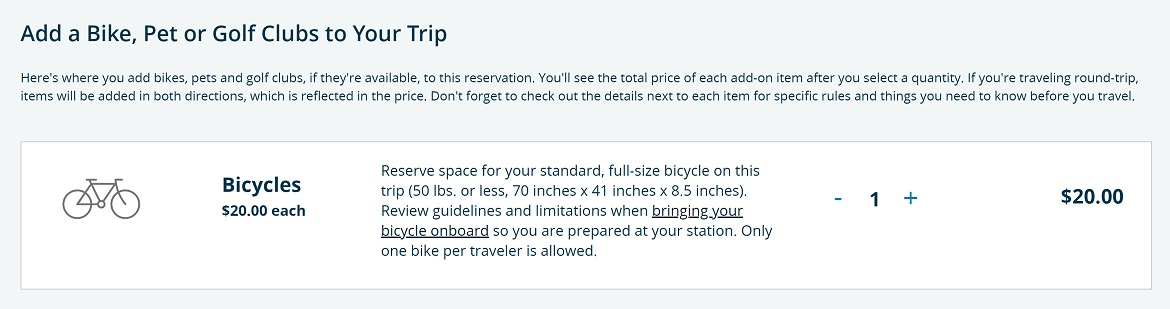 Bike spot reservation with amtrak