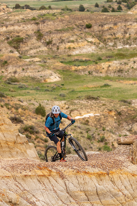 Technical sections of Bike tour in North Dakota on the Maah Daah Hey trail.
