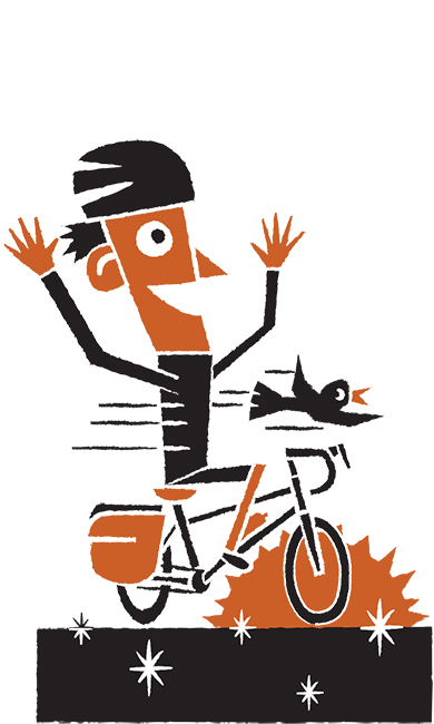Daniel Mrgan bike touring blacktop illustration