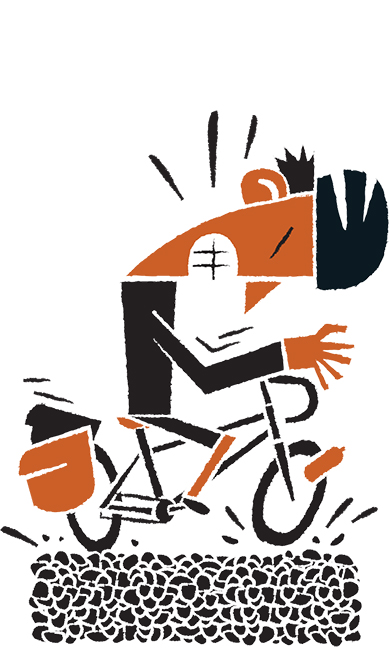 Daniel Mrgan bike touring chip seal road illustration