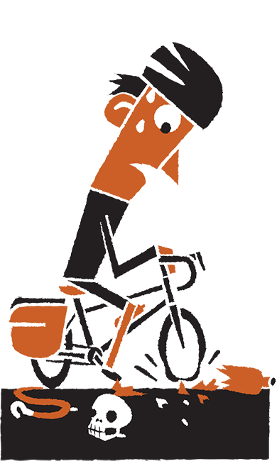 Daniel Mrgan bike touring road debris illustration