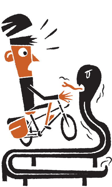 Daniel Mrgan bike touring guardrail illustration