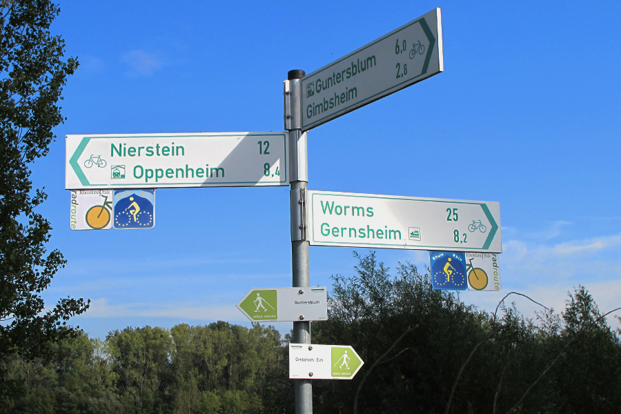Signs on the Rhine River Bicycle Route