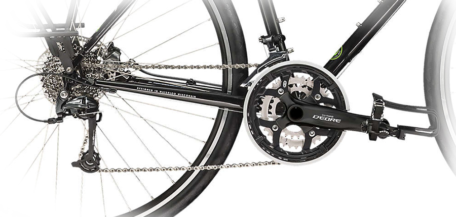 A detailed image of the drivetrain on the Trek 520.