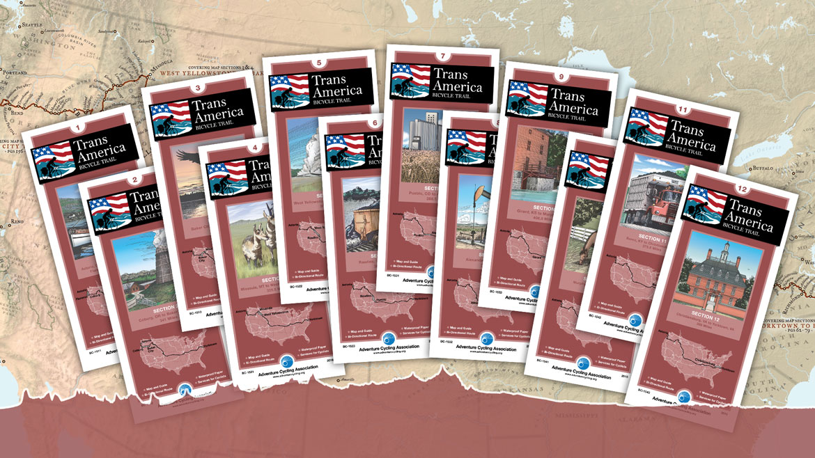 Adventure Cycling has all the maps for every section of the TransAmerican Bicycle Route.