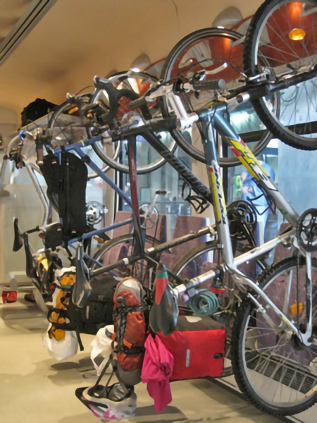 Bikes on a train in Europe