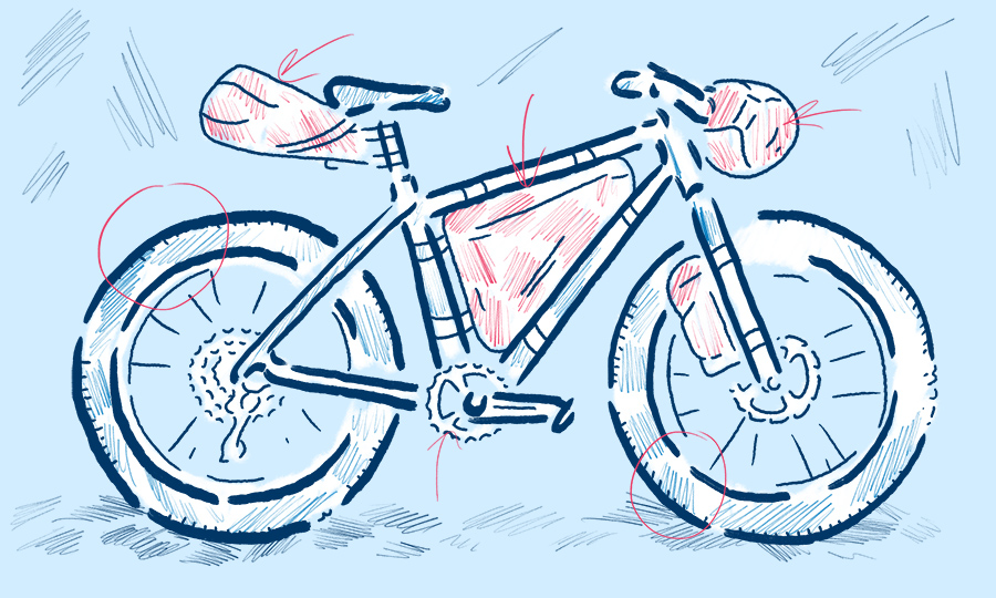 Bikepacking bicycle illustration by Levi Boughn