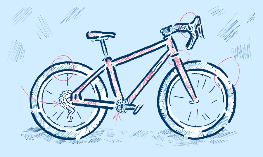 Gravel bike illustration by Levi Boughn