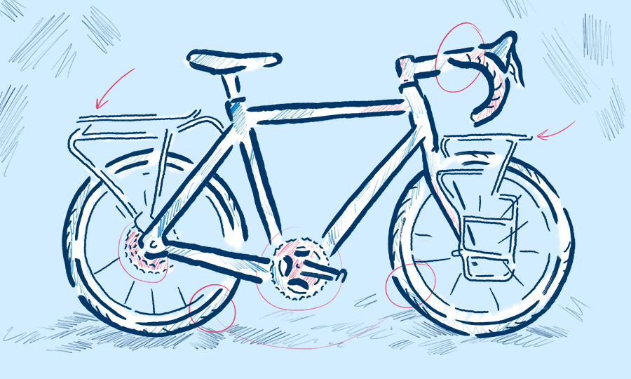 Touring bicycle illustration by Levi Boughn