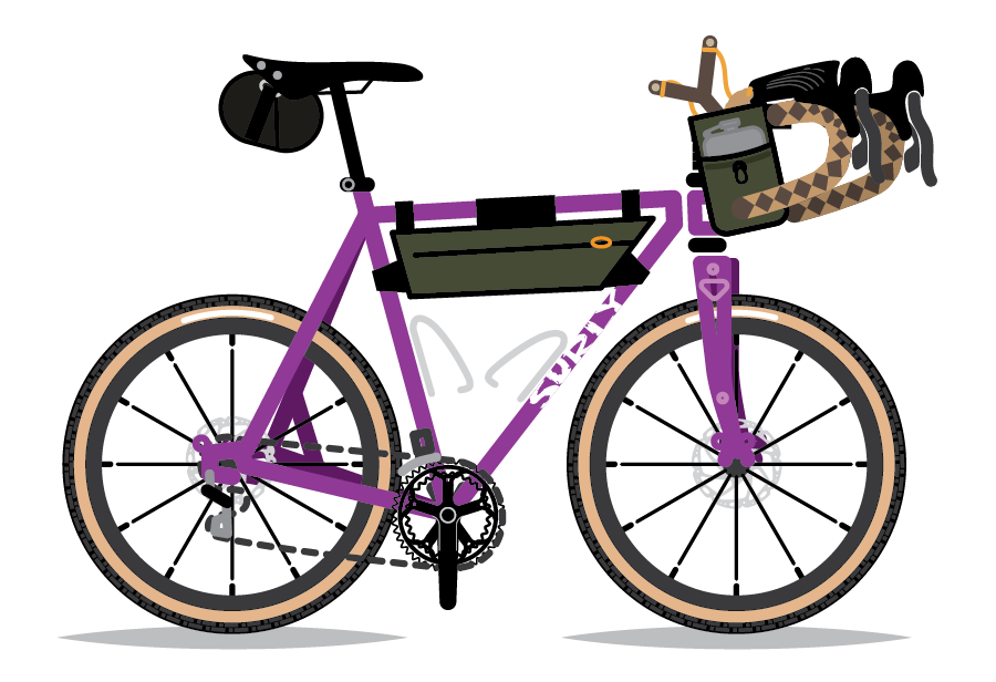 An illustration of Ally Mabry's Surly Straggler, by Bicycle Crumbs.