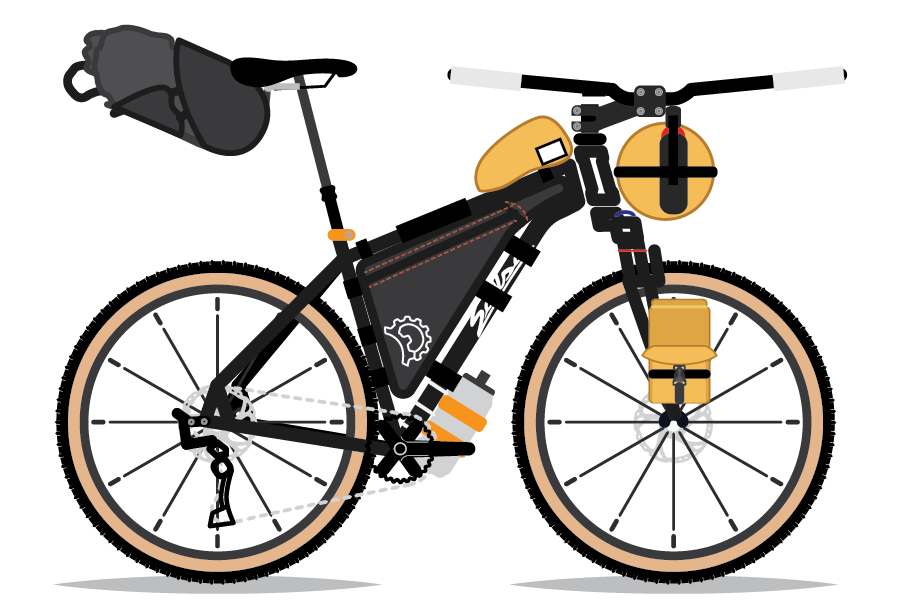 An illustration of Dan Meyer's bicycle, a Salsa El Mariachi. By Bicycle Crumbs.