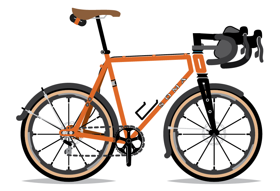 An illustration of Alex Strickland's bicycle, a Soma Wolverine. By Bicycle Crumbs.