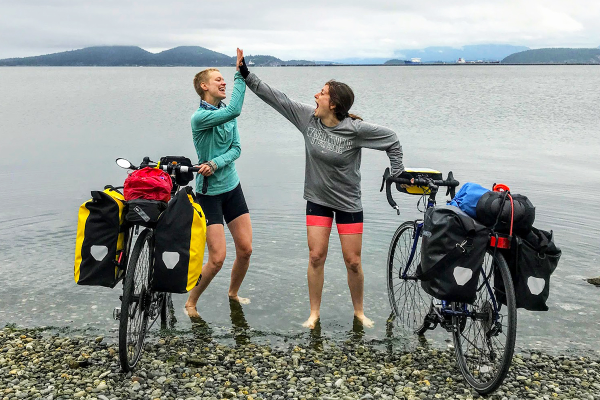 Rachel Rosenbaum on her first day bike touring Northern Tier Route
