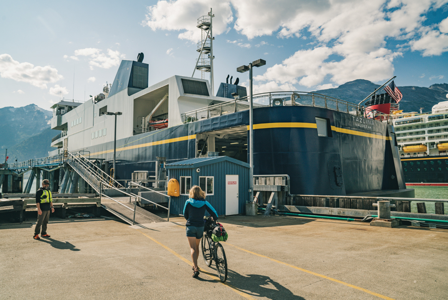 Elsa Sebastian boards the Alaska State Ferry at the end of her bicycle tour.