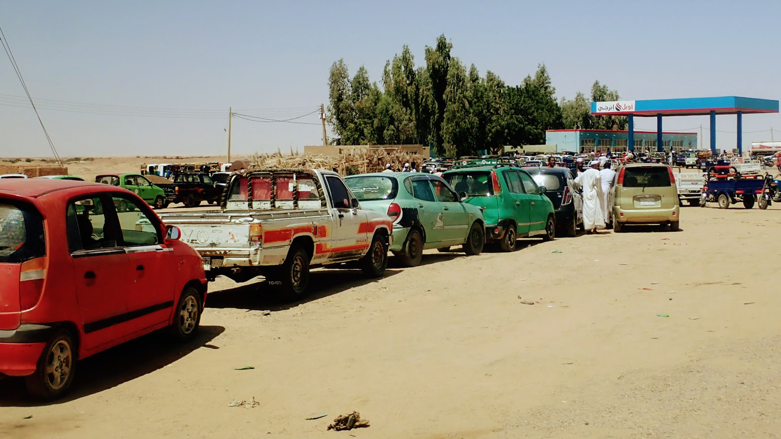 long gas station lines in Sudan