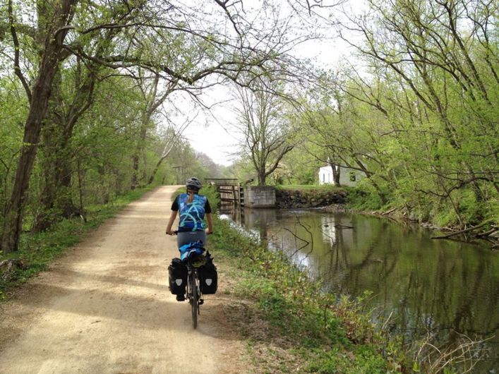 Bike travel in National Parks: The 184-mile C&O Canal Towpath is a popular trail for bike touring.