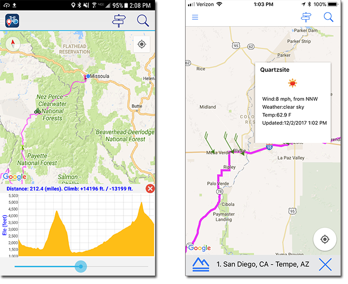 Bicycle Route Navigator Elevation and Weather Alerts